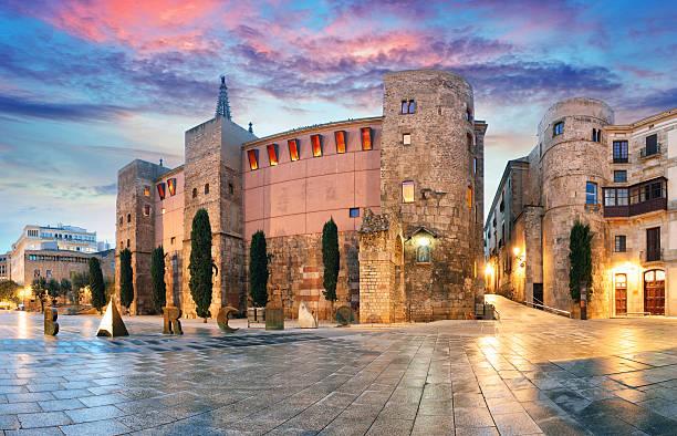パノラマのゲート、ゴシックゴシッククォーター、バルセロナ、スペイン - 旧市街 ストックフォトと画像