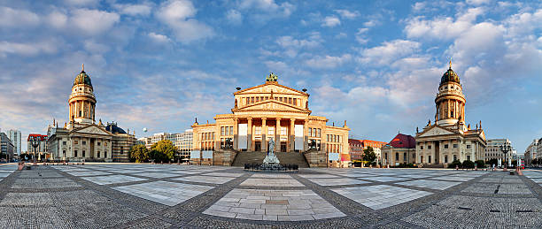 Panorama of Gendarmenmarkt square, Berlin at day Panorama of Gendarmenmarkt square, Berlin at day gendarmenmarkt stock pictures, royalty-free photos & images