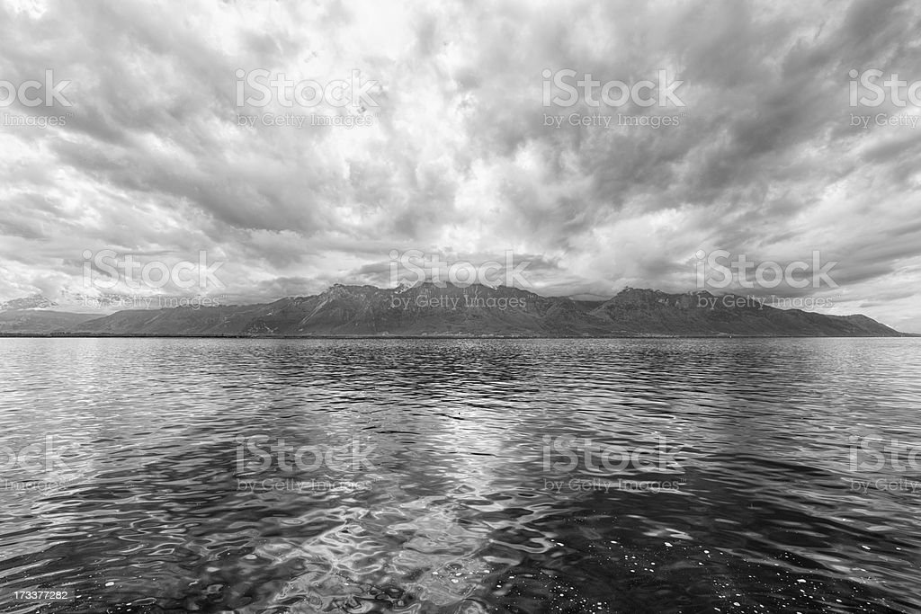 Panorama of Geneva lake near Montreux royalty-free stock photo