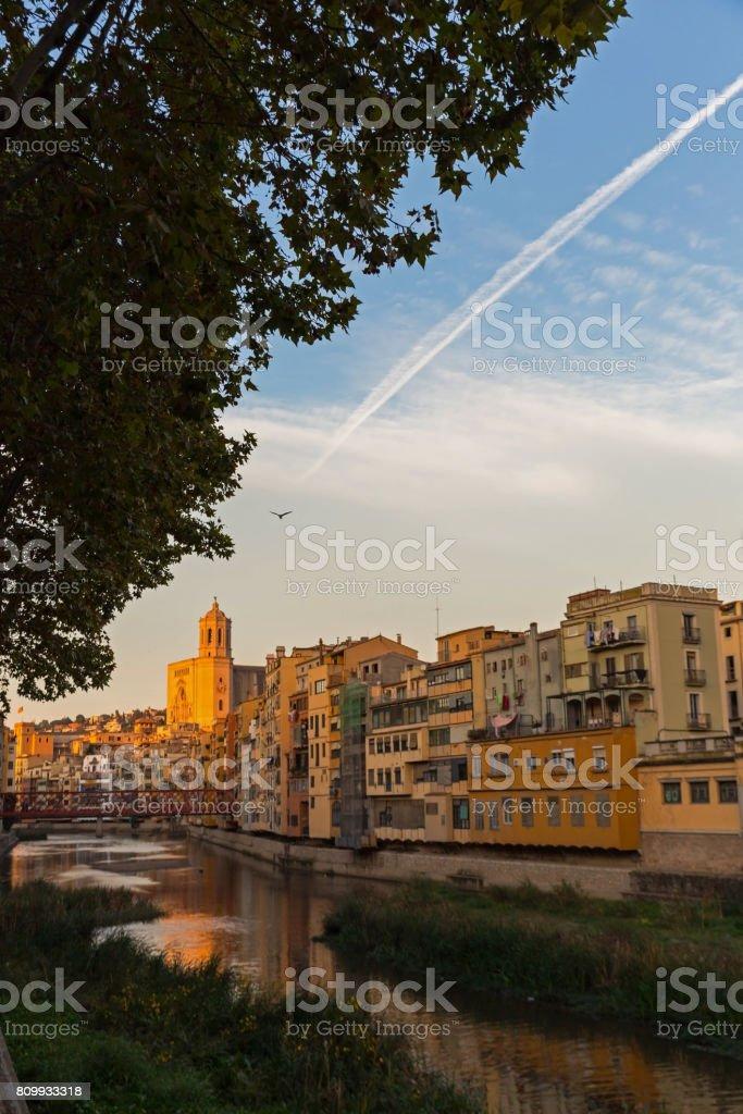 Panorama of Gerona, Costa Brava, Catalonia, Spain. stock photo