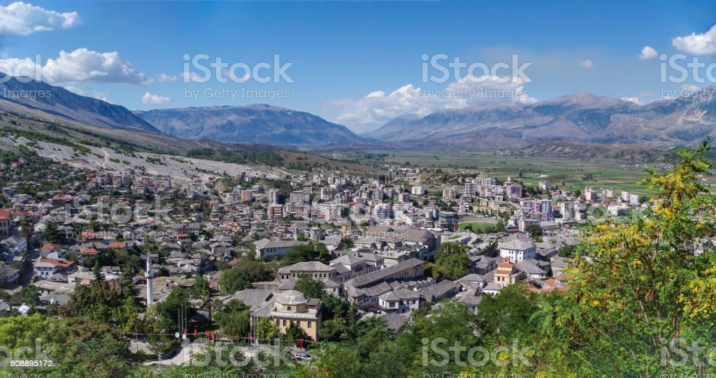 Panorama of Gjirokaster from the Castle. stock photo