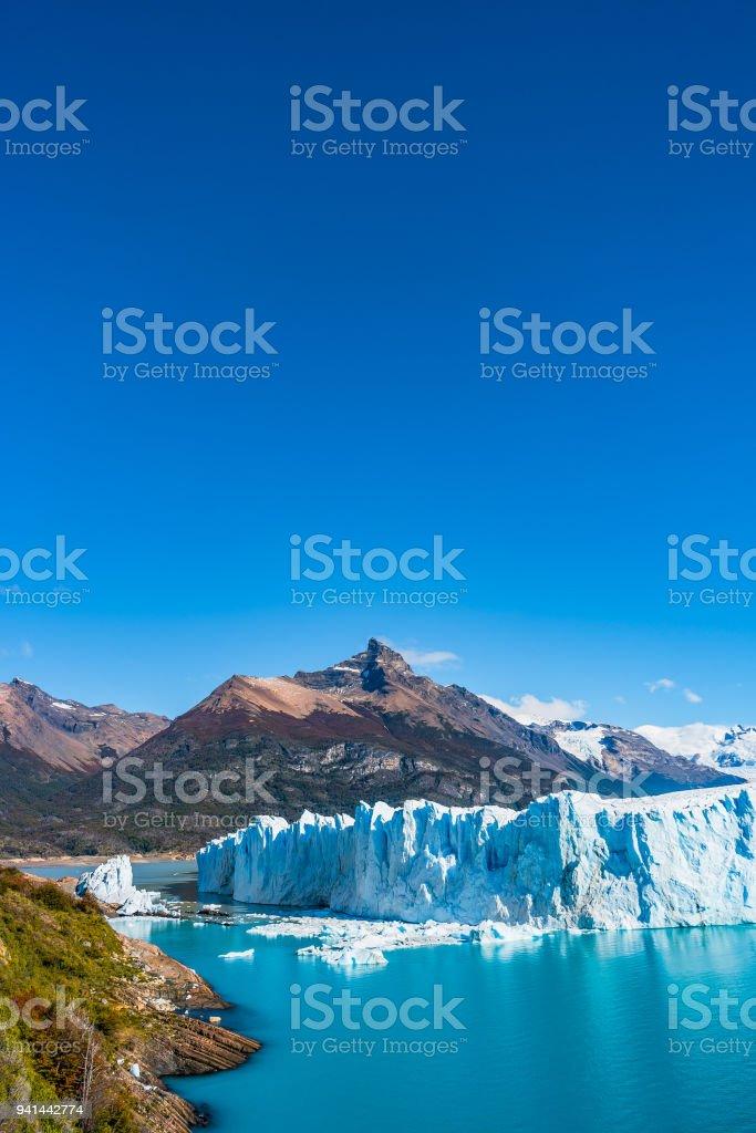 Panorama of glacier Perito Moreno in Patagonia stock photo