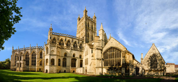 Panorama of Gloucester Cathedral stock photo
