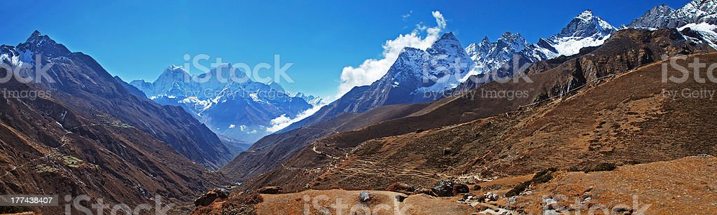 Panorama of Gokyo valley, Khumbu region, Nepal royalty-free stock photo