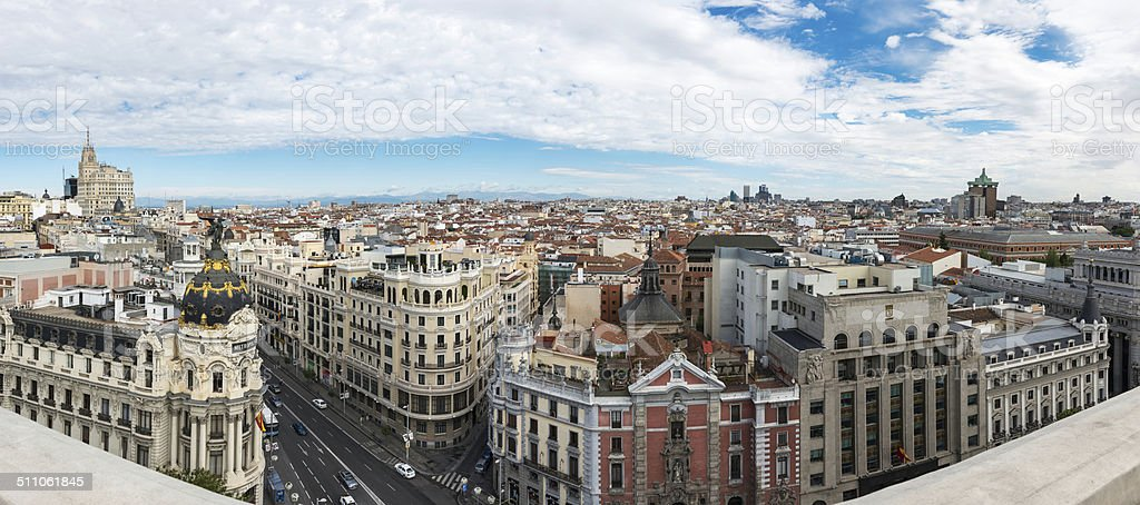 Panorama of Gran Via and Madrid Skyline stock photo