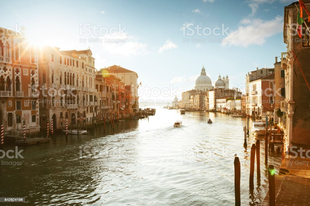 Panorama of Grand Canal in Venice stock photo