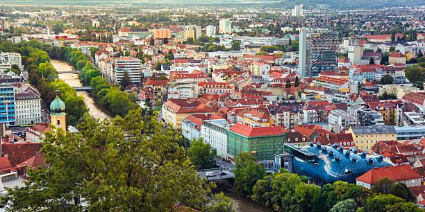 panorama von graz - stadt graz stock-fotos und bilder