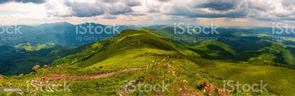 panorama of great Carpathian water dividing ridge stock photo