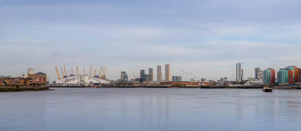 Panorama of Greenwich Peninsula and surrounding area looking across the Thames river. stock photo