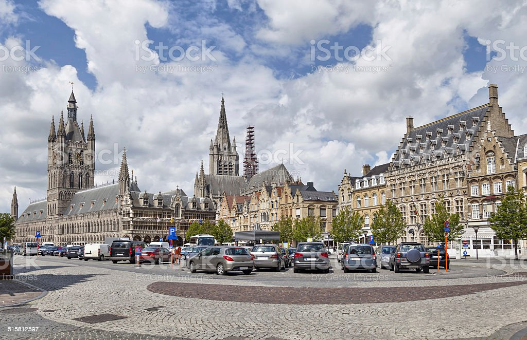 Panorama of Grote Markt square in Ypres stock photo