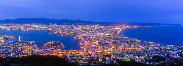 Panorama of Hakodate City view from Mountain Hakodate stock photo