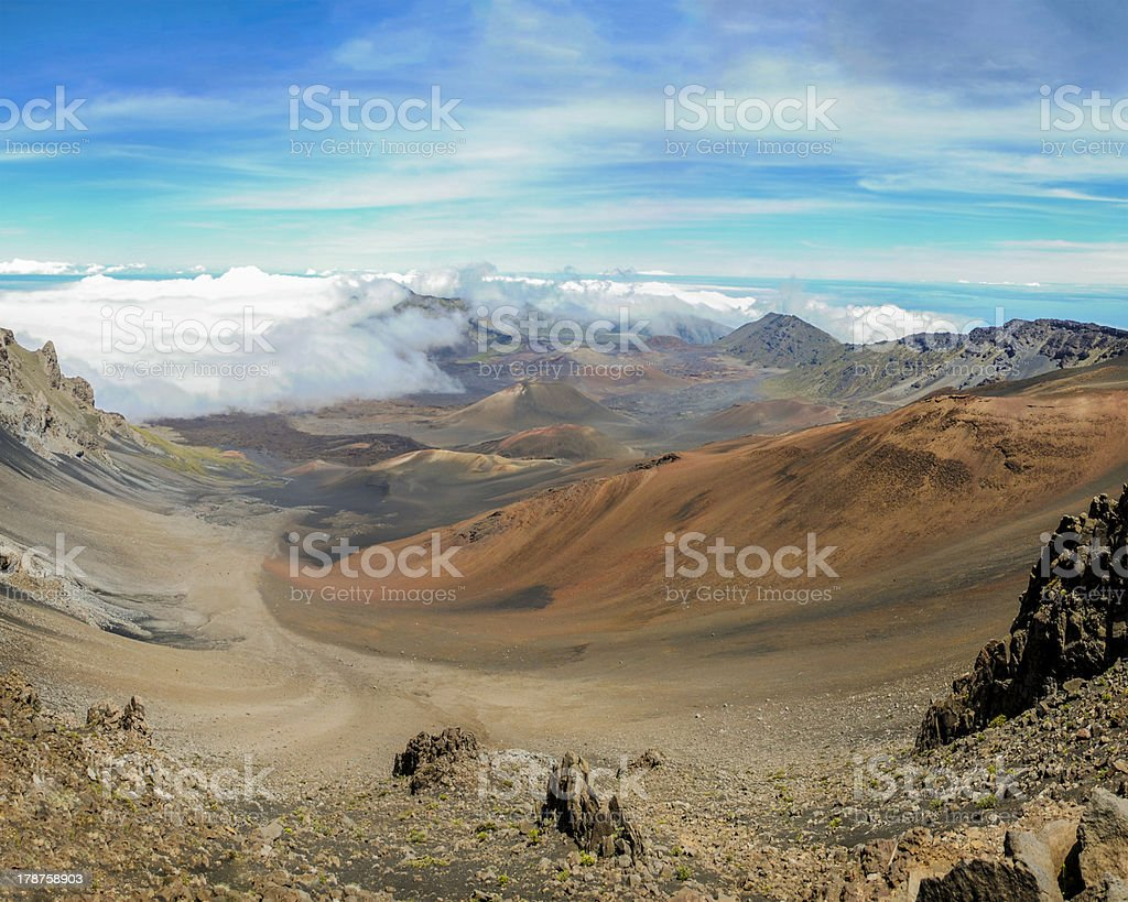 Panorama of Haleakala crater, Maui, Hawaii stock photo