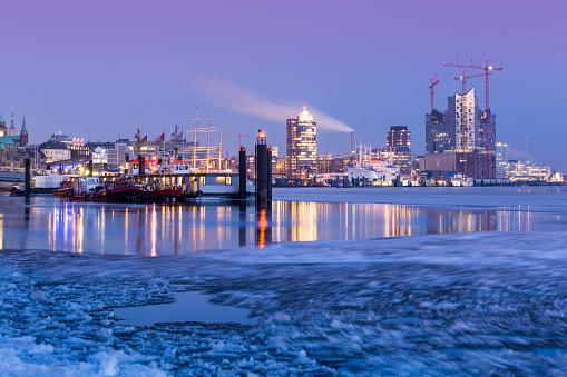 Panorama of Hamburg harbor on ice, Elbe Philharmonic Hall
