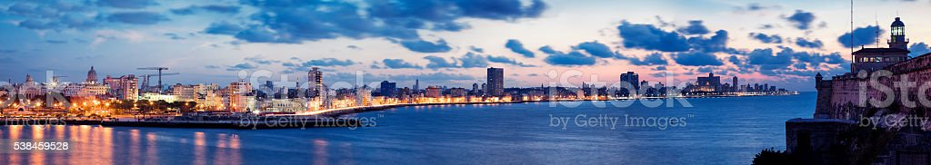 Panorama of Havana Harbour with Malecon at Dusk, Cuba stock photo