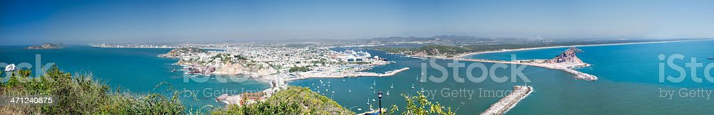 Panorama of Hazy Mazatlan Mexico stock photo