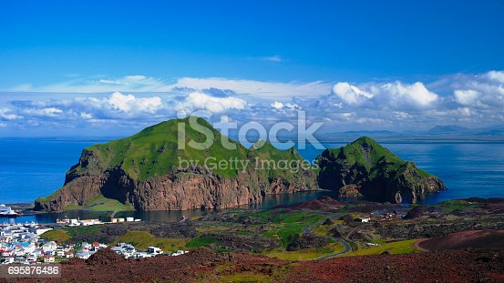 istock Panorama of Heimaey island and city, Vestmannaeyjar archipelago, Iceland 695876486
