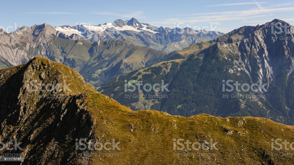 Panorama of high mountains in the alps on a sunny day in summer stock photo