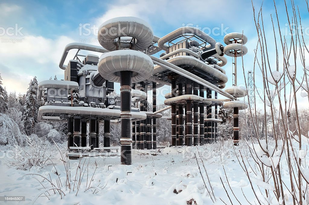Panorama of High Voltage Research Installation with Tesla generators stock photo