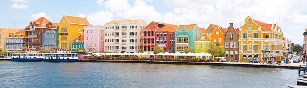 Panorama of Historic Punda Downton Willemstad Curacao stock photo