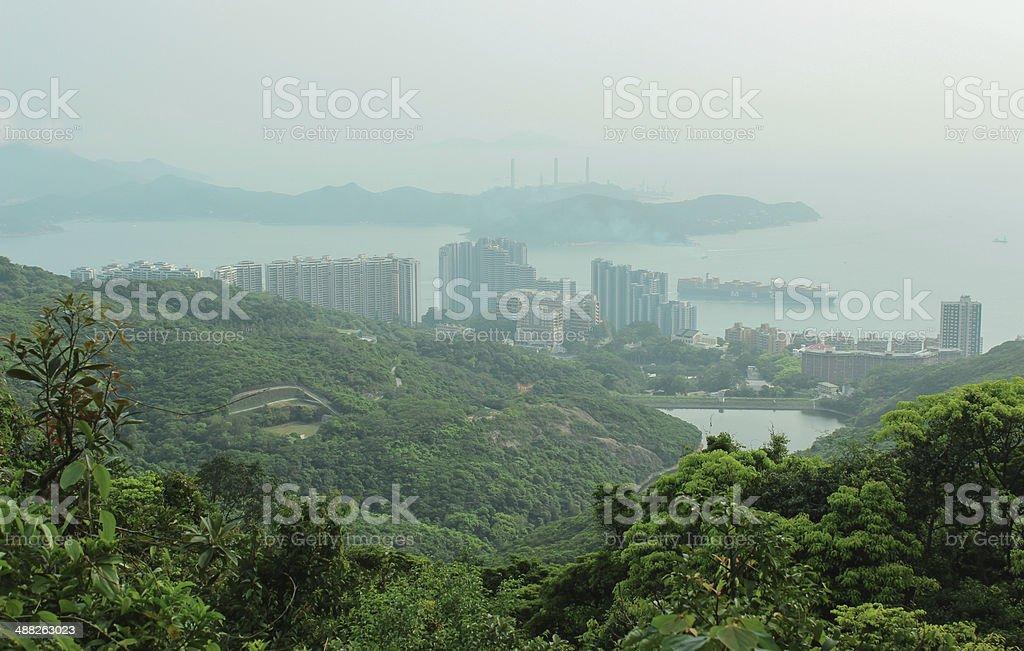 Panorama of Hong Kong and Lamma Island from Victoria  Peak stock photo