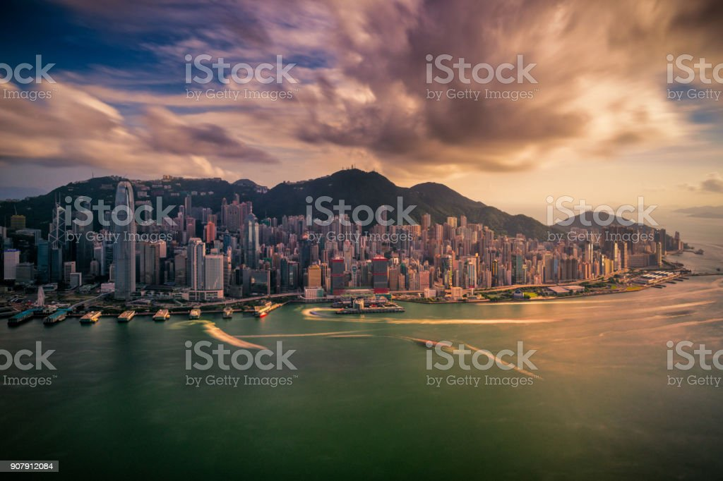 Panorama of Hong Kong City skyline stock photo