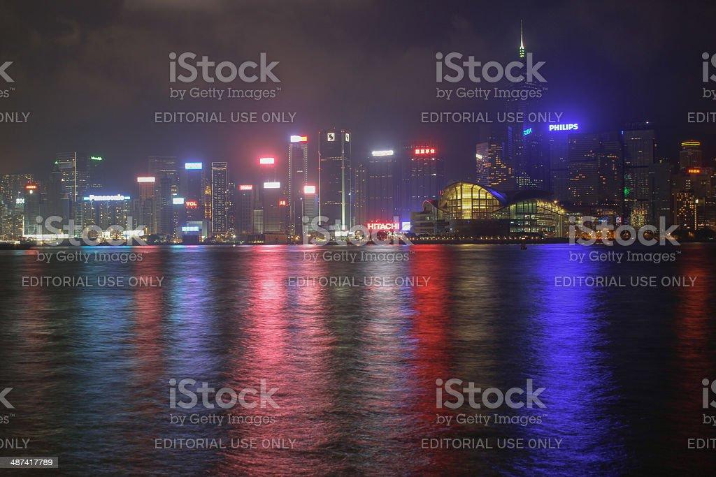 Panorama of Hong Kong Island from Kowloon at night time stock photo