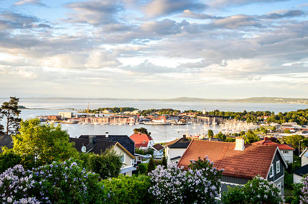 Panorama of Horten located on Oslofjord, Norway Panorama of charming town of Horten located on Oslofjord, Norway oslo stock pictures, royalty-free photos & images