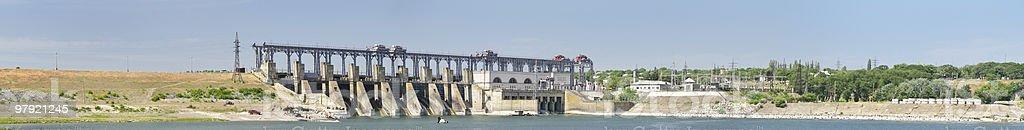 panorama of hydroelectric power plant in Dubasari, Moldova royalty-free stock photo