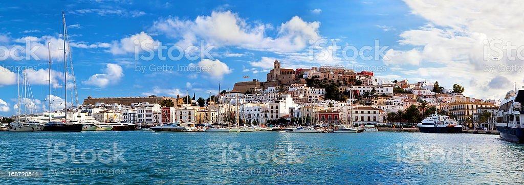 Panorama of Ibiza, Spain stock photo