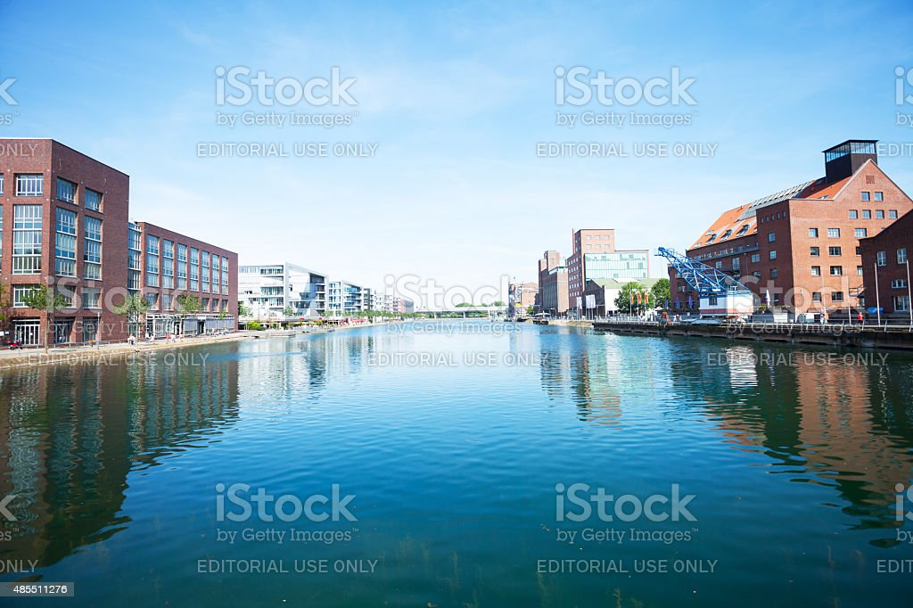 Panorama of inner harbor Duisburg stock photo