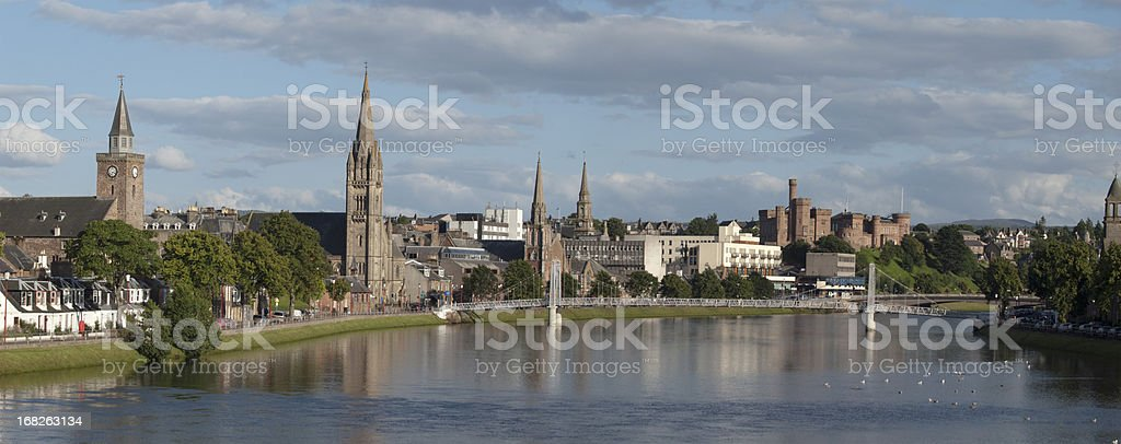 Panorama of Inverness, Scotland stock photo