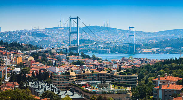 Panorama of Istanbul city view and Bosphorus Bridge Panoramic view of Istanbul city with Bosphorus Bridge taken with sunny day in Turkey bosphorus stock pictures, royalty-free photos & images