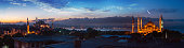 Panorama of Istanbul with the view on Blue Mosque and Hagia Sophia near Bosphorus at sunset, Turkey