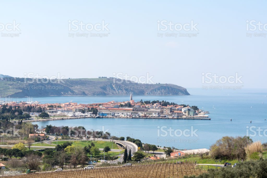 panorama of Izola in Slovenia stock photo