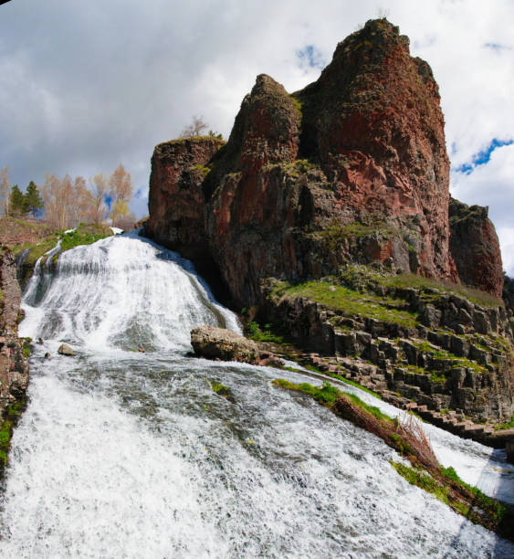 Panorama of Jermuk waterfall on Arpa river, Armenia Panorama of Jermuk waterfall on Arpa river in Armenia ARPA stock pictures, royalty-free photos & images