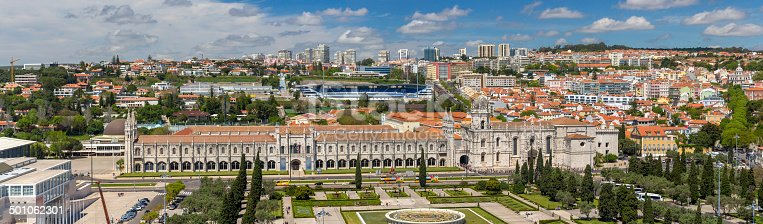 Panorama of Jeronimos Monastery in Lisbon, Portugal