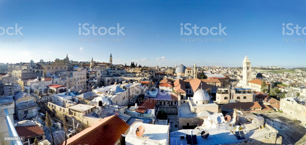 Panorama of Jerusalem. Roofs of Old City with Holy Sepulcher Church Dome, Jerusalem, Israel stock photo