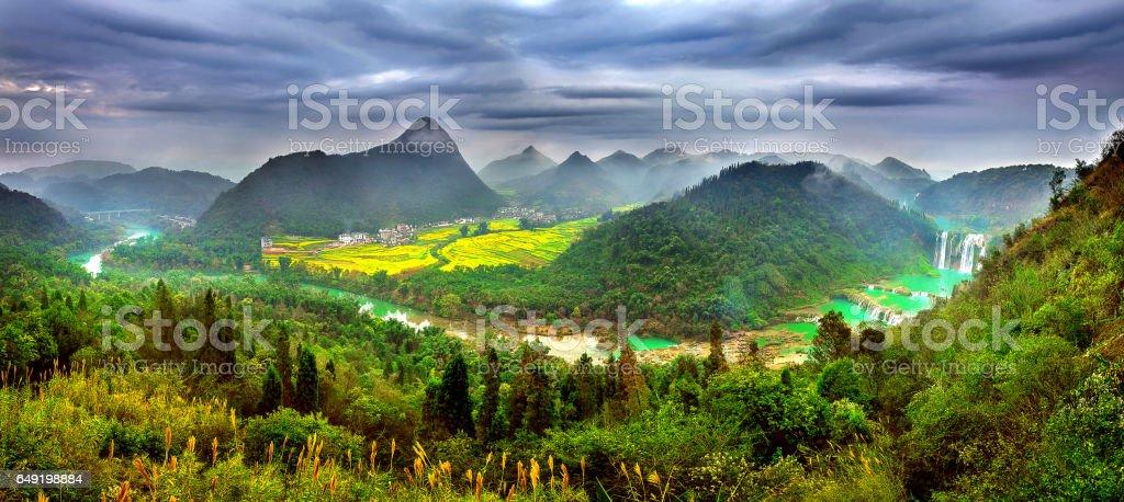Panorama of Jiulong waterfall in China. stock photo
