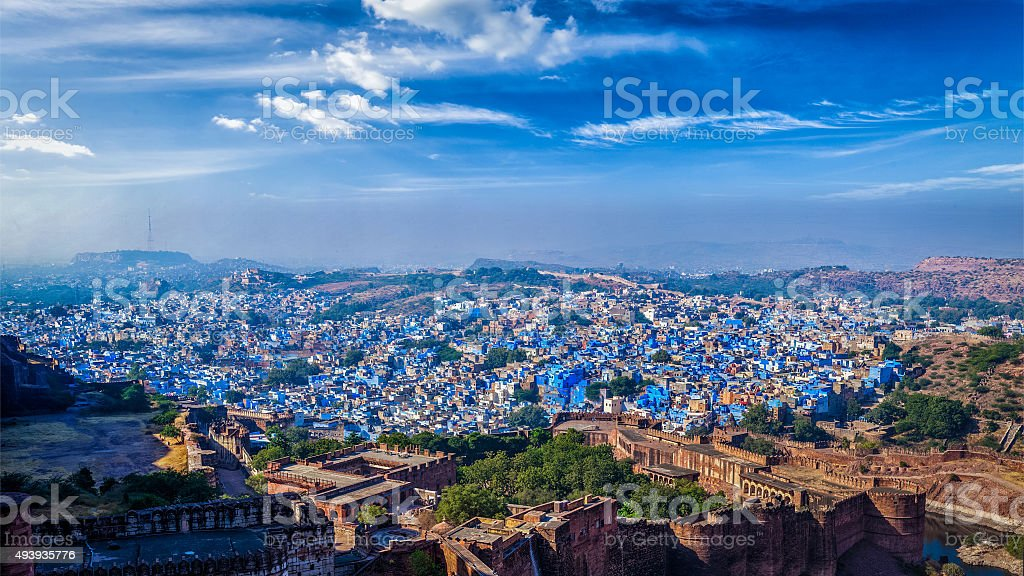 Panorama of Jodhpur Blue City. Rajasthan, India stock photo
