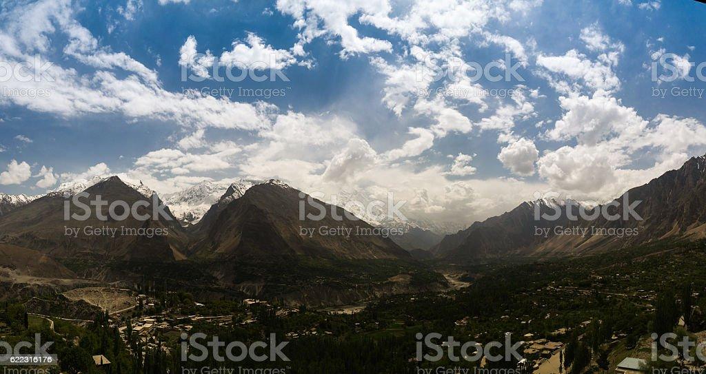 Panorama of Karimabad and Hunza valley, Gilgit-Baltistan Pakistan stock photo
