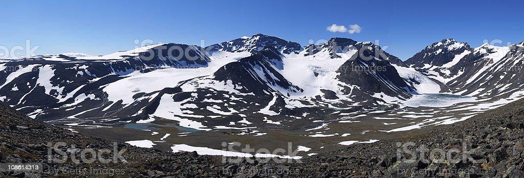 Panorama of Kebnekaise massif stock photo
