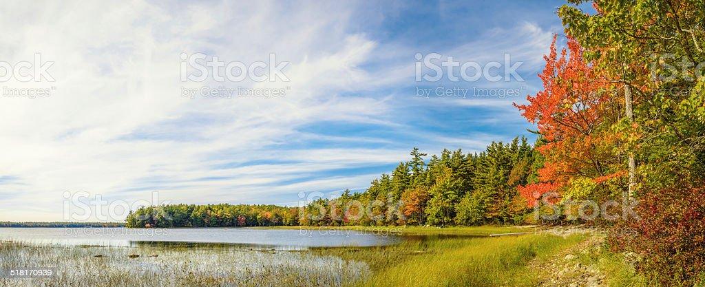 Panorama of Kejimkujik lake in fall from Jeremy Bay Campground stock photo