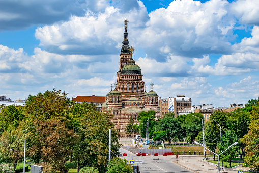 istock Panorama of Kharkov with the Annunciation Cathedral against the background of the embankment 1266230817