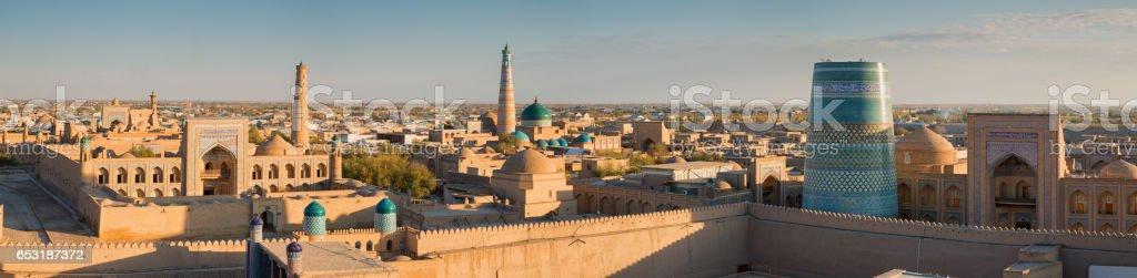 Panorama of Khiva at sunset stock photo