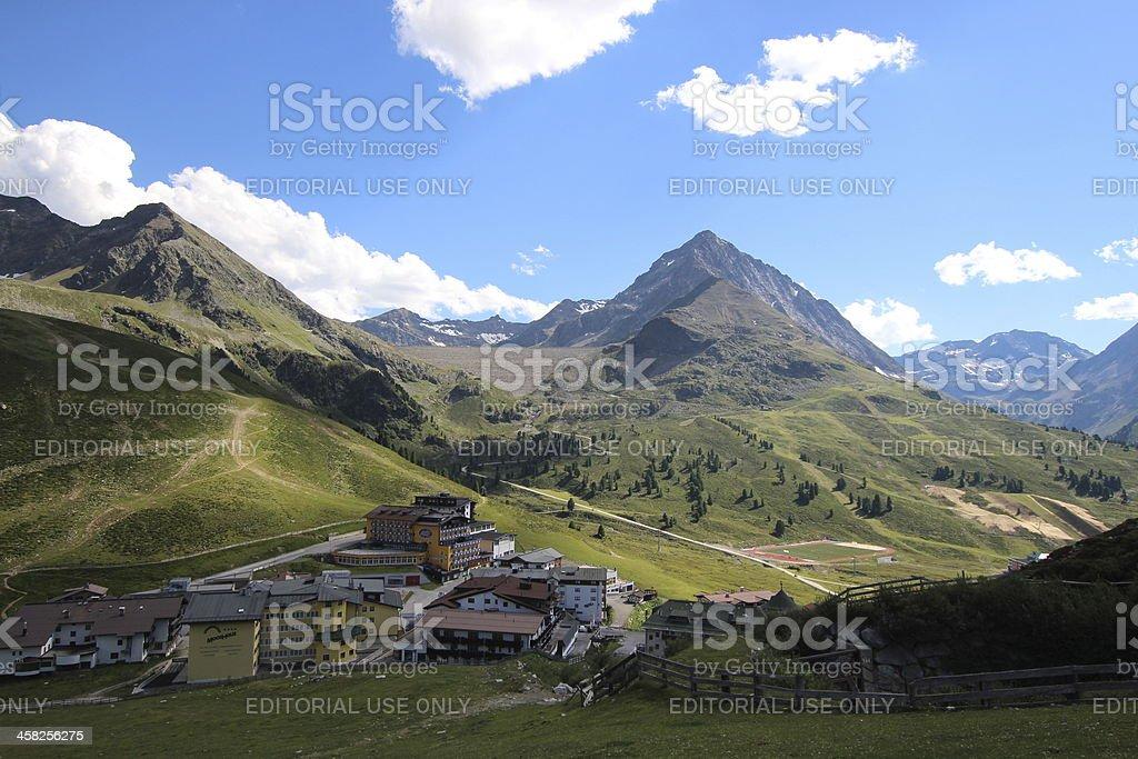 Panorama of Kühtai Village, Tyrol, Austria royalty-free stock photo