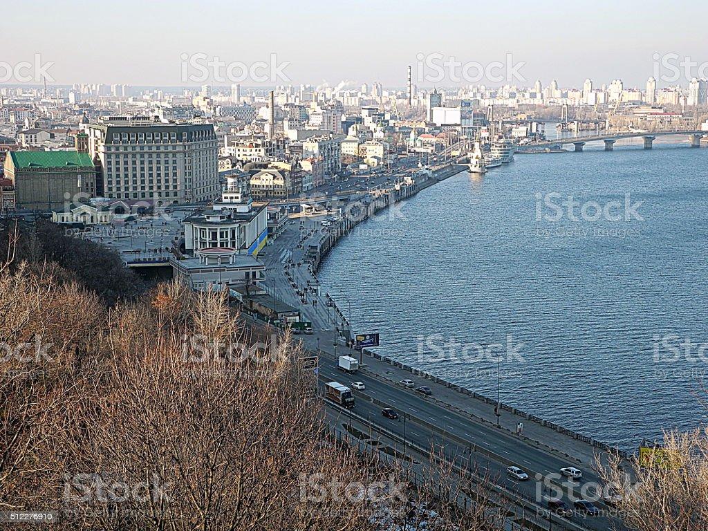 Cityscape of Kiev, Podil district and river Dnepr. Ukraina.