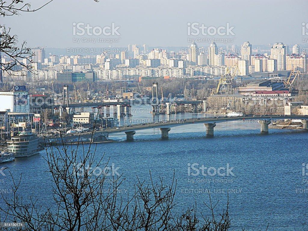 Cityscape of Kiev, Obolon district and river Dnepr.