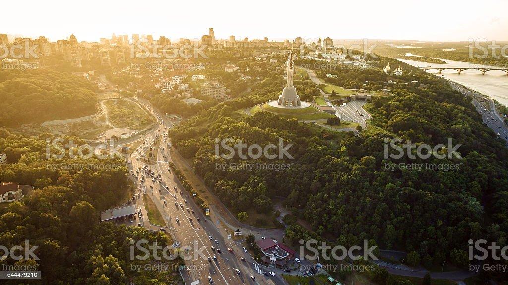 Panorama of Kiev city from the Paton bridge. Aerial view. stock photo