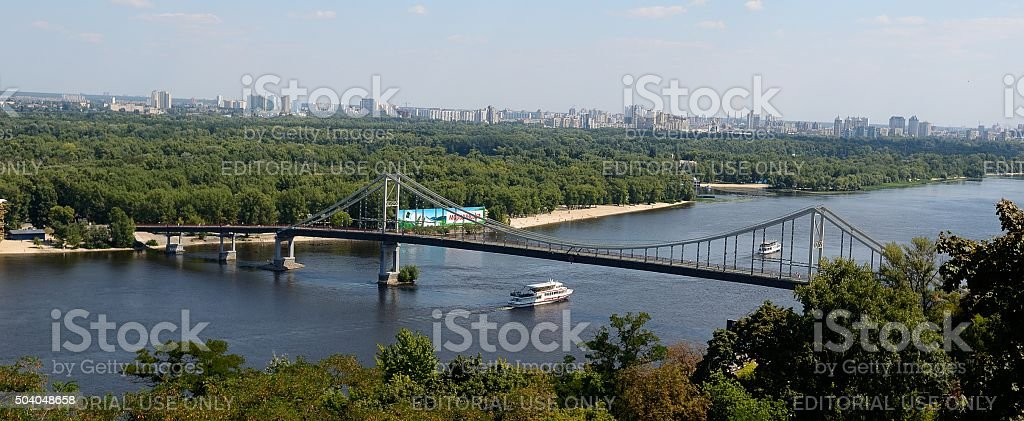 Delightful open panorama of Kiev from the lookout park \