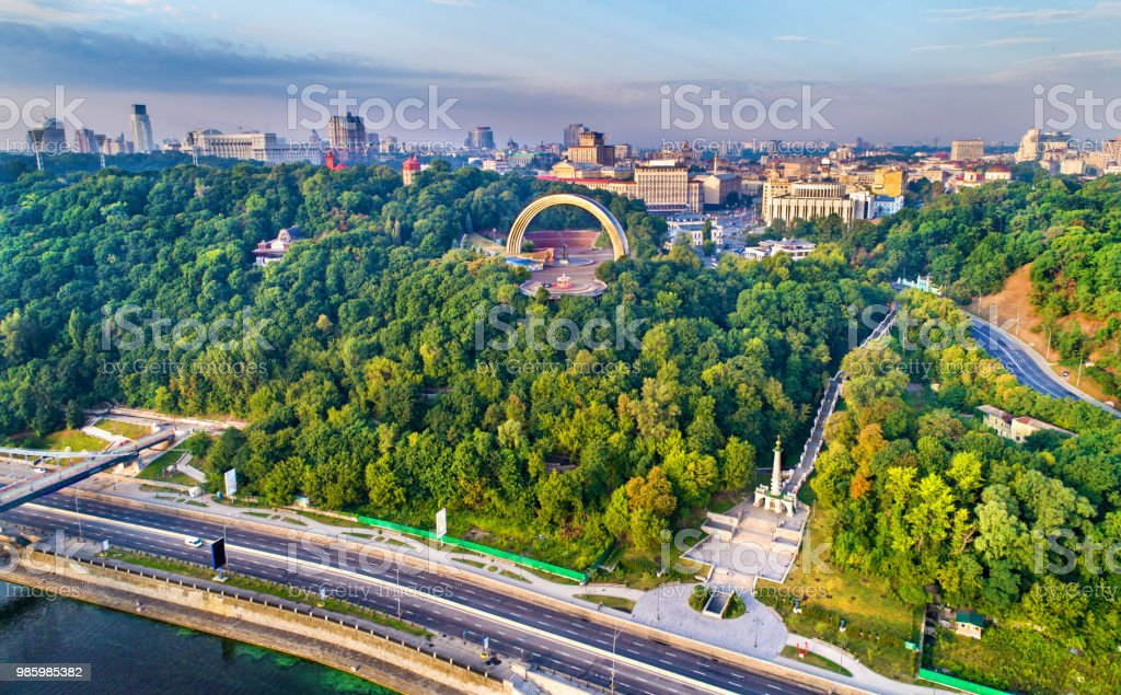 Aerial view of Kiev with Friendship of Nations Arch and Monument to...